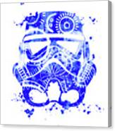 Stormtrooper Mask Blue 1 Canvas Print