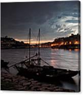 Stormy Evening Sky Above Porto And Gaia Canvas Print
