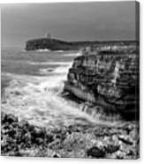 stormy sea - Slow waves in a rocky coast black and white photo by pedro cardona Canvas Print