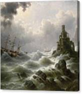 Stormy Sea With Lighthouse On The Coast Canvas Print