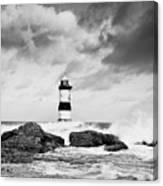 Stormy Seas Black And White Canvas Print