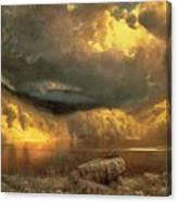 Stormy Skies Above Echo Lake White Mountains  Canvas Print