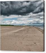 Stormy Weather Over Tentsmuir Beach In Scotland Canvas Print