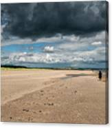 Stormy Weather Over The Beach In Scotland Canvas Print