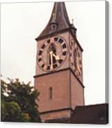 St.peter Church Clock In Zurich Switzerland Canvas Print