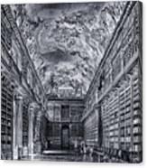 Strahov Monastery Philosophical Hall Bw Canvas Print