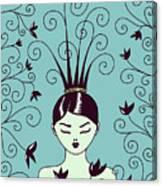 Strange Hairstyle And Flowery Swirls Canvas Print
