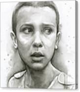 Stranger Things Eleven Upside Down Art Portrait Canvas Print