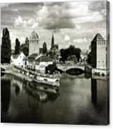 Strasbourg. View From The Barrage Vauban. Black And White Canvas Print