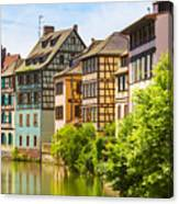Strasbourg, Half-tmbered Houses, Petite France, Alsace, France  Canvas Print