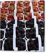 Strawberries And Blackberries Canvas Print