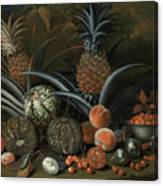 Strawberries In A Porcelain Bowl With Pineapples Melons Peaches And Figs Before A Tropical Landscape Canvas Print