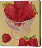 Strawberries In Crystal Dish Canvas Print