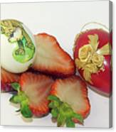 Strawberry And Easter Eggs Canvas Print