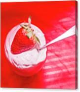 Strawberry Yogurt In Round Bowl With Spoon Canvas Print