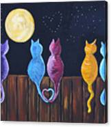 Stray Cats In Moonlight Canvas Print