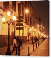 Street At Night, Lima Peru Canvas Print