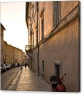 Street At Sundown In Assisi Canvas Print