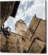 Street Behind The Barcelona Cathedral In Spain. Canvas Print