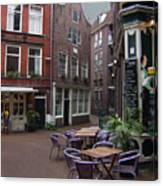 Street Cafe Mooy In Amsterdam Canvas Print