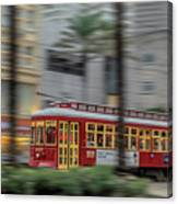 Street Car Flying Down Canal Canvas Print