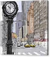 Street Clock On 5th Avenue Handmade Sketch Canvas Print