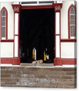 Street Dog At Church Canvas Print