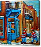 Street Hockey At Wilensky's Montreal Canvas Print