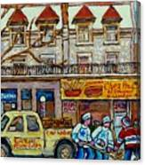 Street Hockey Pointe St Charles Winter  Hockey Scene Paul's Restaurant Quebec Art Carole Spandau     Canvas Print