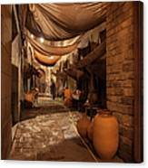 Street In Gothic District Of Barcelona At Night Canvas Print