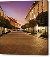 Street In Ostrow Tumski By Night In Wroclaw Canvas Print