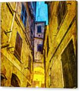 Street In Vernazza - Vintage Version Canvas Print