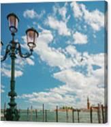 Street Lamp At Venice, Italy Canvas Print