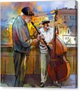 Street Musicians In Prague In The Czech Republic 01 Canvas Print