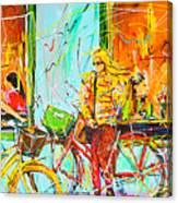 Street Of Amsterdam - Four Girls Canvas Print