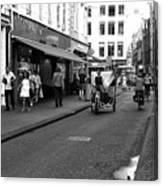 Street Riding In Amsterdam Mono Canvas Print