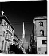 Street Scene With Transamerica Pyramid From Chinatown  Canvas Print