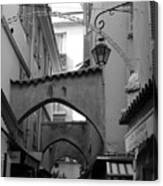 Streets Of Cannes 1 In Black And White Canvas Print