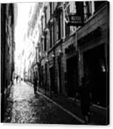 Streets Of Rome 2 Black And White Canvas Print