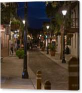 Streets Of St. Augustine At Night Canvas Print