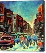 Streetscenes Of Montreal Hockey Paintings By Montreal Cityscene Specialist Carole Spandau Canvas Print