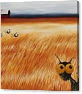 Stressie Cat And Crows In The Hay Fields Canvas Print