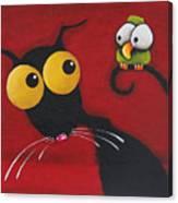 Stressiecat And The Bird Canvas Print