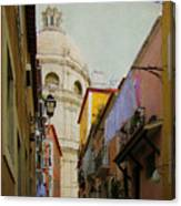 Street Scene In Alfama District Of Lisbon Canvas Print