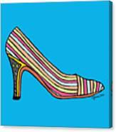 Striped Pump Shoe Canvas Print