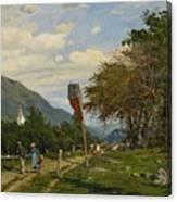 Strutzel, Otto 1855 Dessau - 1930   On The Way Home. In The Background The Steeple Of Garmisch-parte Canvas Print