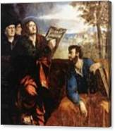 Sts John And Bartholomew With Donors 1527 Canvas Print
