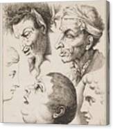 Studies Of Heads Anonimo, Blooteling Abraham Canvas Print