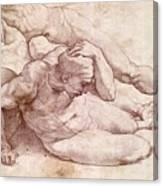 Study Of Three Male Figures Canvas Print