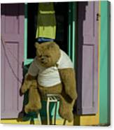 Stuffed Bear Chained To A Door Canvas Print